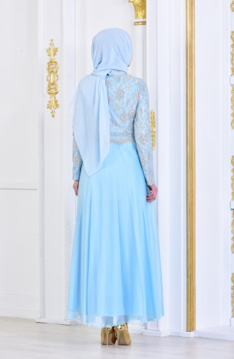 Robe de Soirée a Dentelle 7960-03 Bleu Bébé 7960-03