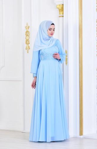 Stone Printed Evening Dress 8088-04 Baby Blue 8088-04
