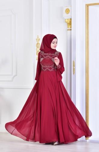 فستان سهرة بتصميم مُطبع باحجار لامعة 8088-01 لون خمري 8088-01