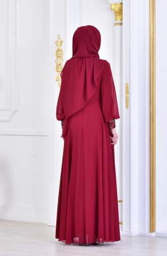 Strassstein Bedrucktes Abendkleid 8088-01 Weinrot 8088-01