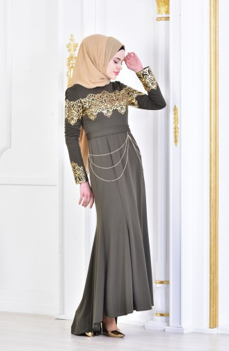 chained Gilded Evening Dress 2056-01 Khaki 2056-01