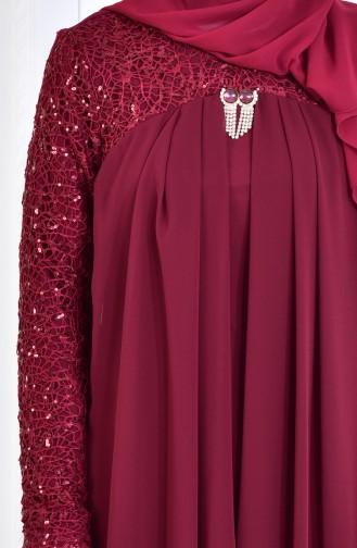 Robe de Soirée Mousseline Détail Broche 52651-07 Bordeaux Foncé 52651-07