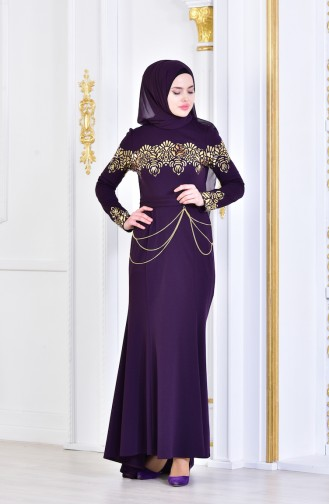 Purple Islamic Clothing Evening Dress 2056-02