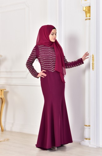 Pearls Evening Dress 6047-01 Plum 6047-01