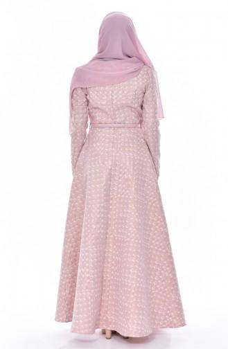 Weiter Kleid mit Jacquard 7176-01 Puder 7176-01