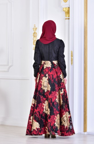 Red Islamic Clothing Evening Dress 1713255-03
