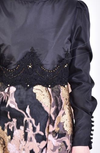 Güpürlü Abiye Elbise 1713255-01 Siyah Pembe