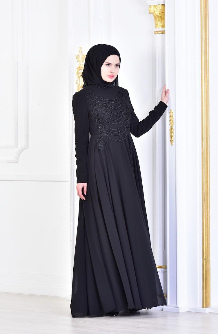 e03a674c76a8f فستان سهرة بتفاصيل مُطرزة بالخرز 8048-03 لون أسود 8048-03