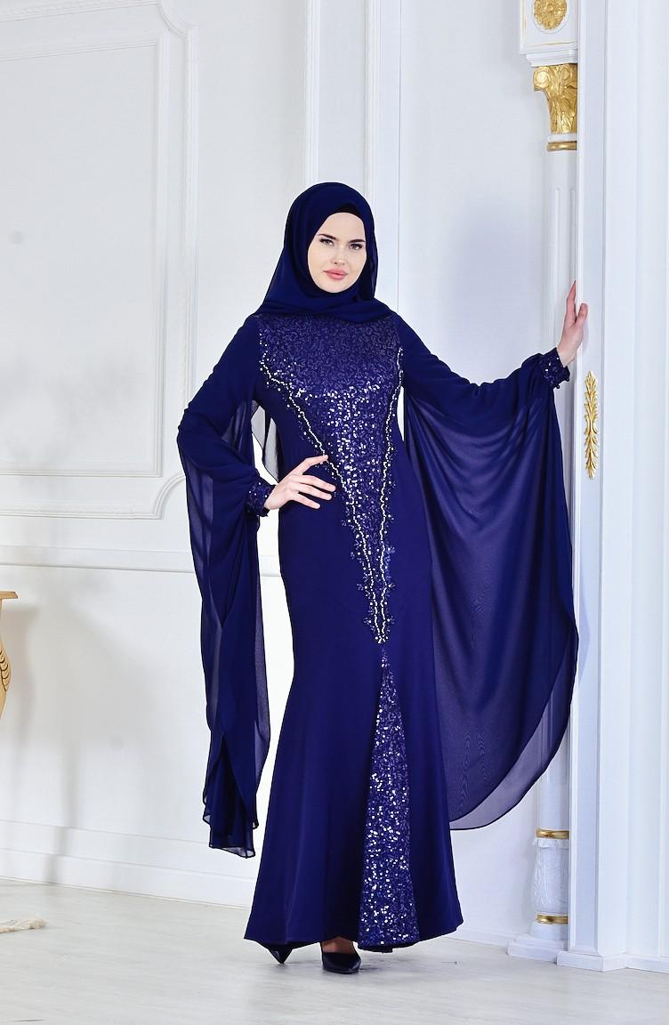 6155aa51c6d32 Navy Blue Islamic Clothing Evening Dress 1713187-01 ...