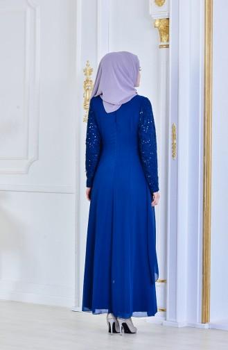 فستان سهرة شيفون مُزين ببروش 52651-06 لون ازرق بترولي 52651-06
