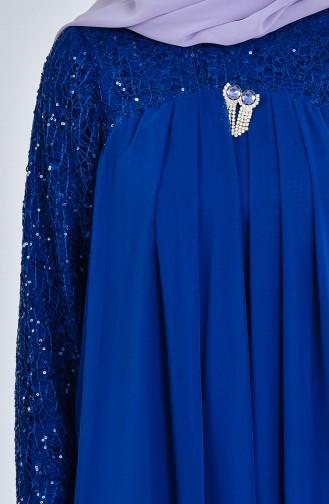 Chiffon Abendkleid mit Brosche 52651-06 Petroleum 52651-06