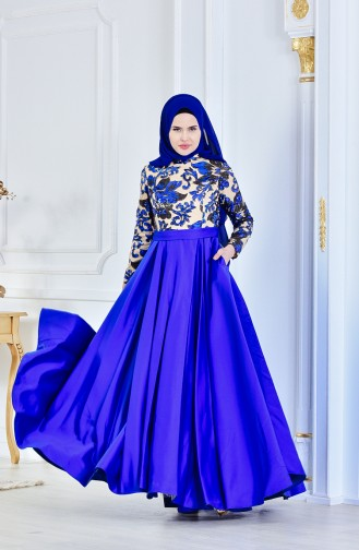 Saxon blue İslamitische Avondjurk 701222-01