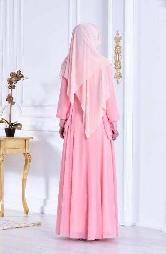 Taş Baskılı Abiye Elbise 8088-06 Somon 8088-06