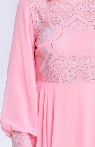 Stone Printed Evening Dress 8088-06 Salmon 8088-06