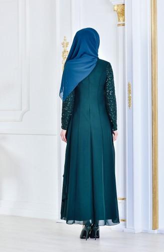 Broş Detaylı Şifon Abiye Elbise 52651-08 Zümrüt Yeşil