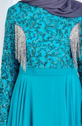 Robe de Soirée a Paillette 8014-01 Vert emeraude 8014-01