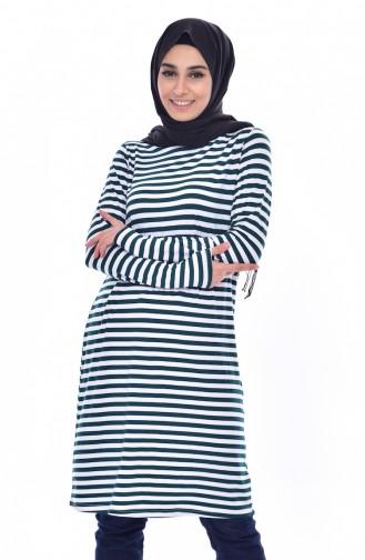 Striped Tunic 8146-03 Emerald Green 8146-03