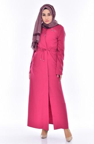 معطف طويل بتصميم حزلم رباط للخصر 2201-05 لون فوشيا 2201-05