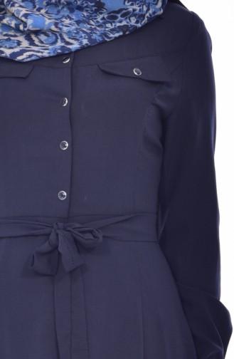 Hijab Mantel mit Druckknöpfen 8101-03 Dunkelblau 8101-03