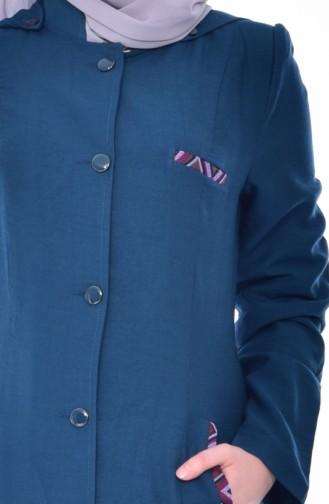 كاب موصول بقبعة بتصميم ازرار 1301-01 لون ازرق بترولي 1301-01