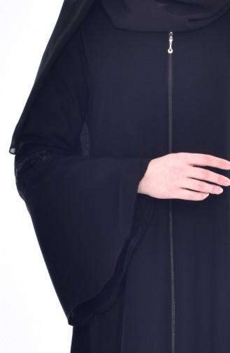 Abaya Manches Volantes 0201-01 Noir 0201-01
