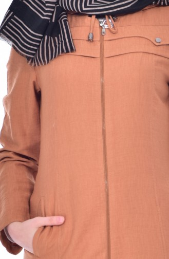 Hooded Zippered Overcoat 0501-02 Taba 0501-02