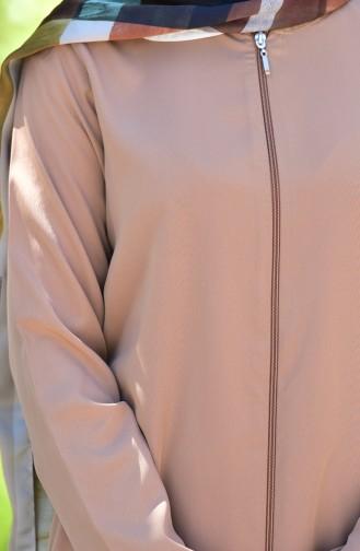 Abaya mit Reißverschluss 6026-09 Hell Senf 6026-09