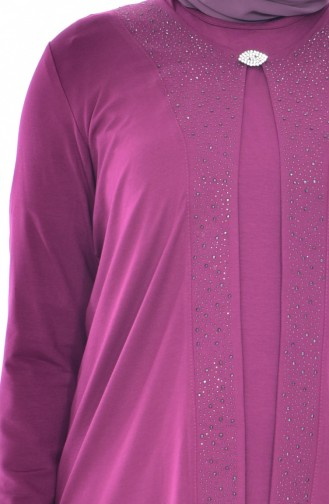 Broşlu Bluz Ceket İkili Takım 1016-06 Fuşya 1016-06
