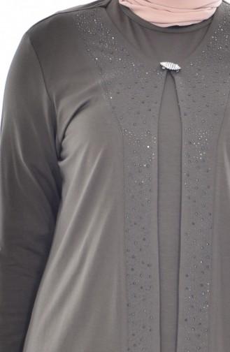 Brooch Blouse Jacket Double Suit 1016-01 Khaki 1016-01