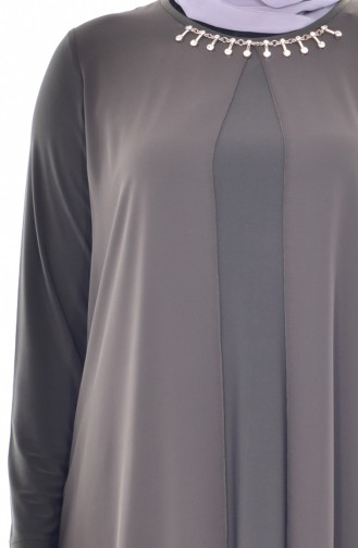 Asymmetrische Tunika mit Halskette 0921A-03 Khaki 0921A-03