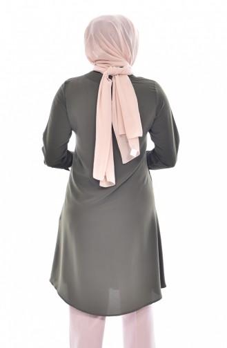 Tunique a Boutons Col Cravate 1037-06 Khaki 1037-06