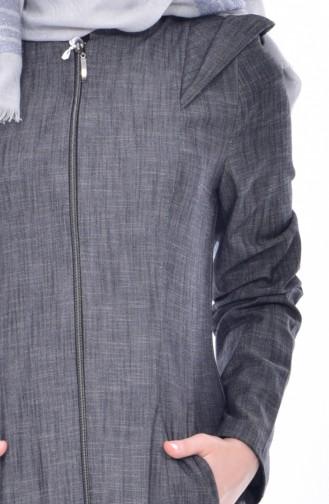 Fermuarlı Pardesü 6601-01 Koyu Gri