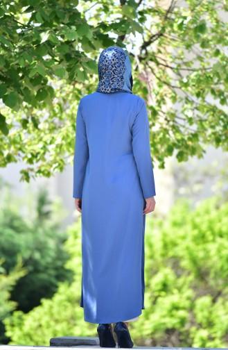 Fermuarlı Ferace 6026-06 Mavi