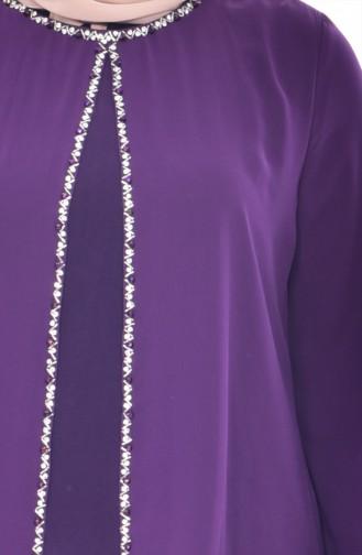 Robe de Soirée Bordée de Pierre 6119-03 Pourpre 6119-03