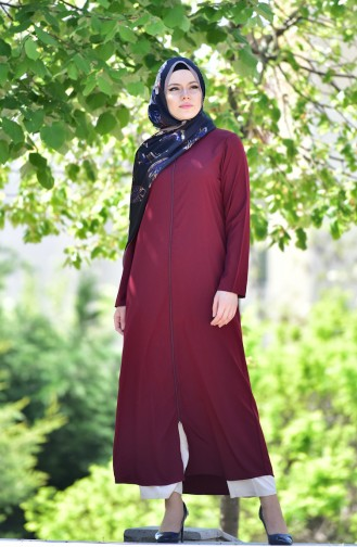 Abaya a Fermeture 6026-07 Plum 6026-07