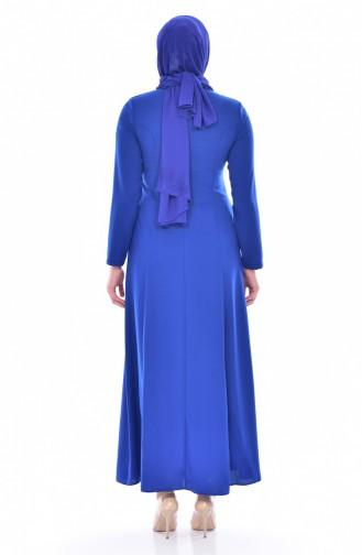 فستان مُزين بأحجار لامعة بمقاسات كبيرة 8126-02 لون ازرق 8126-02