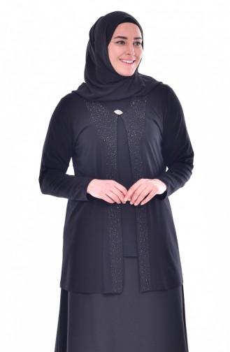 Broşlu Bluz Ceket İkili Takım 1016-05 Siyah 1016-05