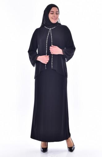 فساتين سهرة بتصميم اسلامي أسود 6119-01