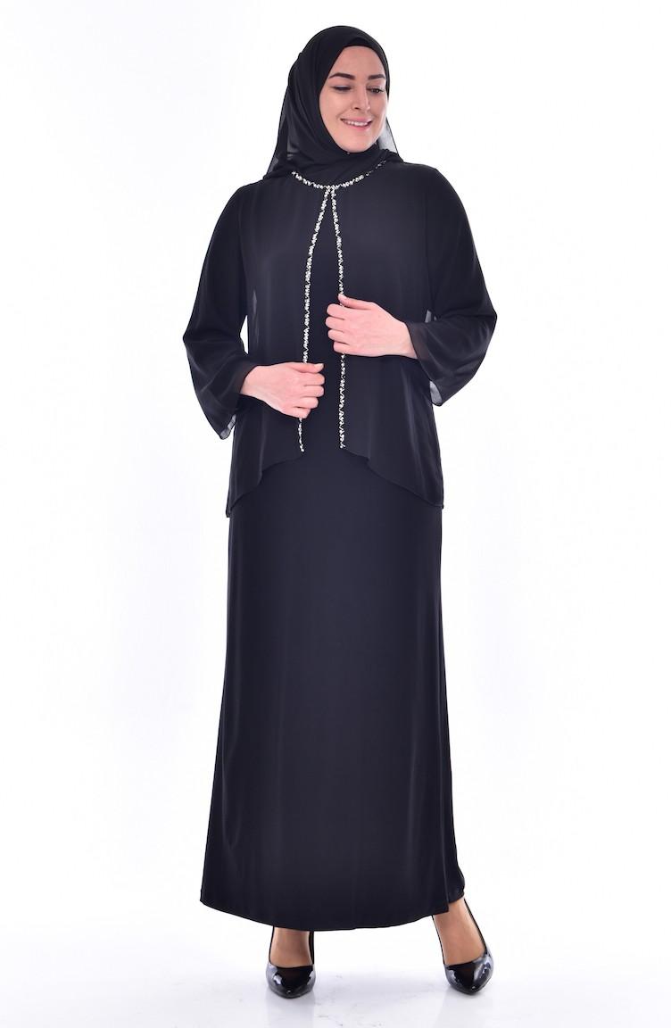 54ea25467796d Black Islamic Clothing Evening Dress 6119-01
