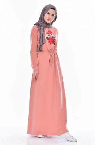 Baskılı Bağcıklı Elbise 8117-03 Somon 8117-03