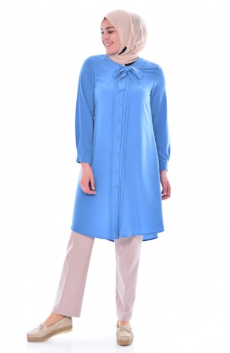 METEX Tie Collar Buttoned Tunic 1037-08 Turquoise 1037-08