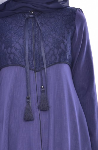 معطف طويل بتفاصيل من بالدانتيل وجيوب 5801-02 لون بنفسجي فاتح 5801-02