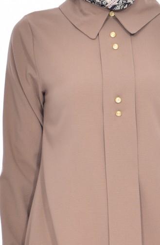 Shirt Collar Pleated Tunic 1162-10 Beige 1162-10