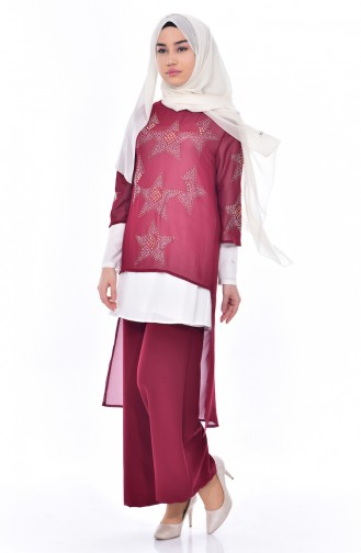 Stone Printed 3 Pcs Suit 8013-01 Claret Red 8013-01