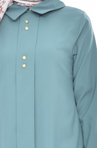 Shirt Collar Pleated Tunic 1162-07 Green 1162-07