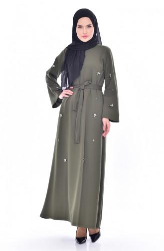 Strassstein Kleid mit Gürtel 1823-02 Khaki 1823-02