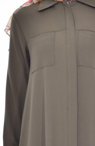 BWEST Hidden Zippered Tunic 8124-06 Khaki 8124-06