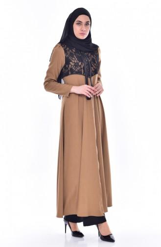 Hijab Mantel mit Spitzen 5801-01 Senf 5801-01