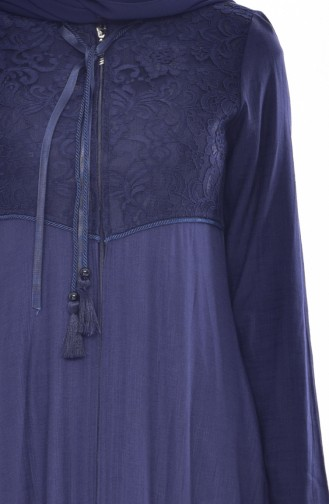 Hijab Mantel mit Spitzen 6001-02 Dunkelblau 6001-02