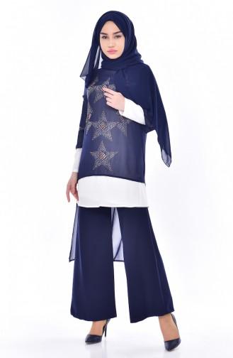 Stone Printed 3 Pcs Suit 8013-04 Navy Blue 8013-04